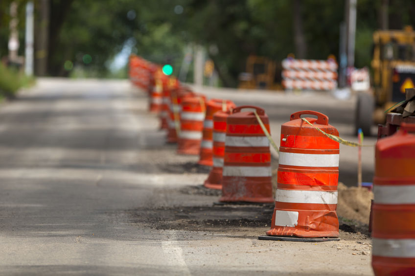 Traffic Drums in a Work Zone